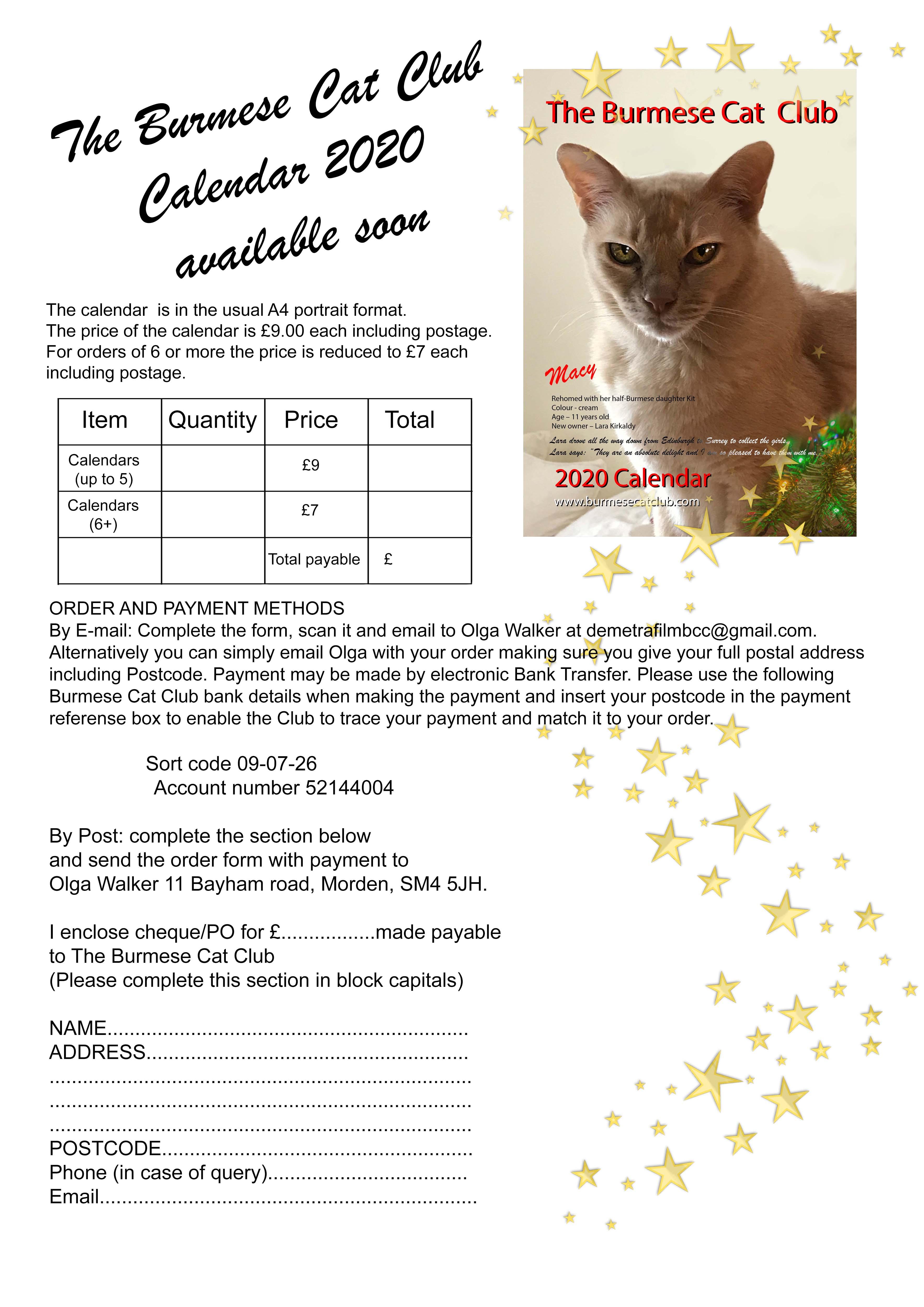 2020 Burmese Cat Club Calendar Burmese Cat Club